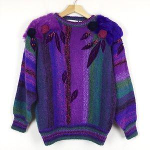 Vintage 80s purple sweater mohair wool blend fur